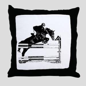 Show Jumper on a dark horse Throw Pillow