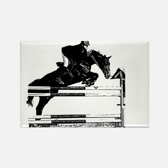 Show Jumper on a dark horse Rectangle Magnet