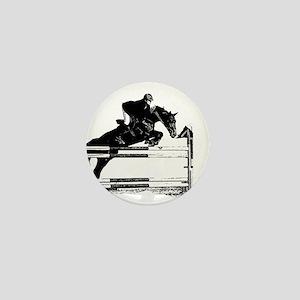 Show Jumper on a dark horse Mini Button
