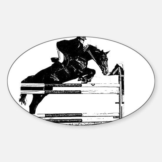 Show Jumper on a dark horse Sticker (Oval)