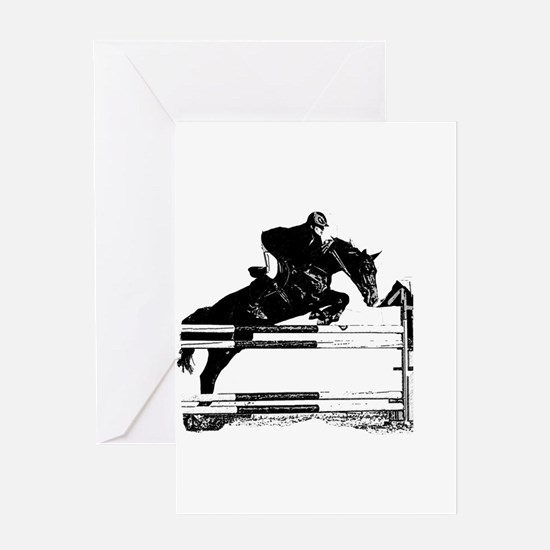 Show Jumper on a dark horse Greeting Card
