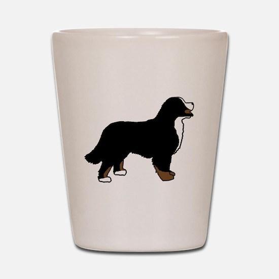 Tri Color Bernese Dog Shot Glass
