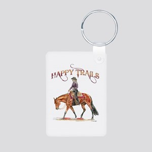Happy Trails Aluminum Photo Keychain