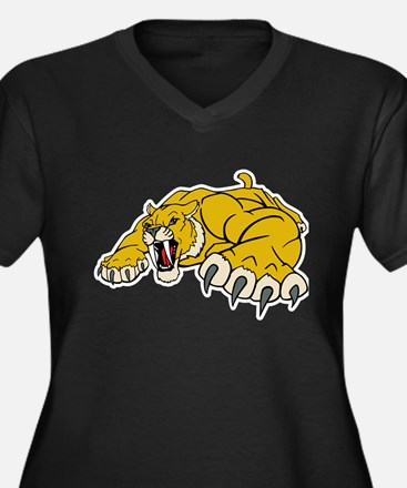 Saber Tooth Tiger Mascot Women's Plus Size V-Neck