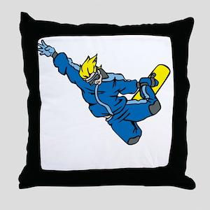 Extreme Snowboarder Throw Pillow