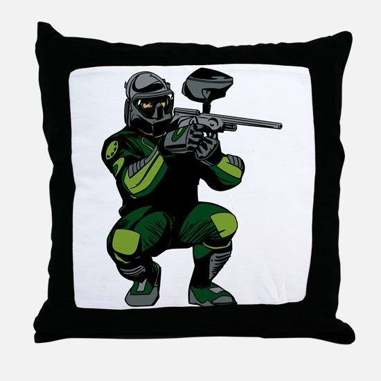 Paintball Player Throw Pillow