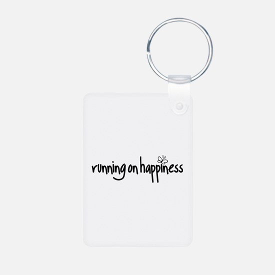 running on happiness Keychains