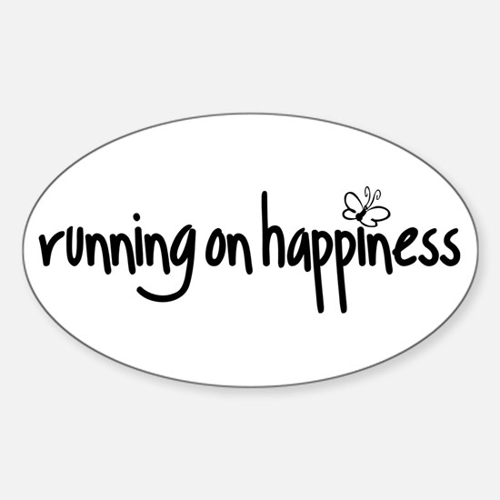 running on happiness Sticker (Oval)