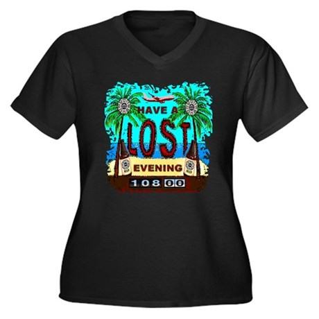 Have a Lost Evening! Women's Plus Size V-Neck Dark