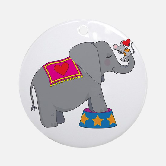 Elephant and Mouse Ornament (Round)