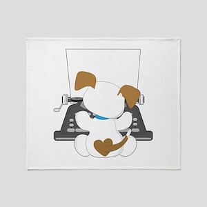 Cute Puppy Typewriter Throw Blanket