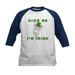 Kiss Me I'm Irish with Mouse Kids Baseball Jersey
