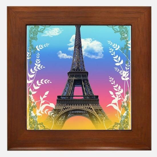 Cute Paris eiffel tower Framed Tile