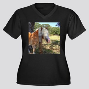 """Haflinger"" Women's Plus Size V-Neck Dark T-Shirt"