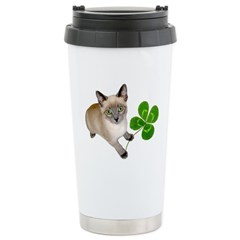 Kitten 4 Leaf Clover Stainless Steel Travel Mug