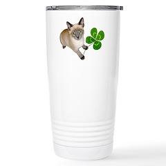 Kitten 4 Leaf Clover Stainless Steel Travel Mug