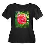 Fiery Rose Women's Plus Size Scoop Neck Dark T-Shi