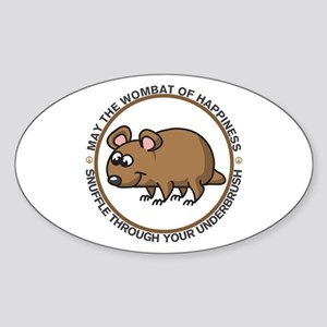 Wombat Of Happiness Sticker (Oval)