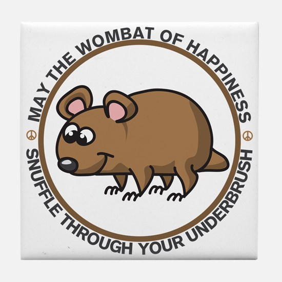 Wombat Of Happiness Tile Coaster