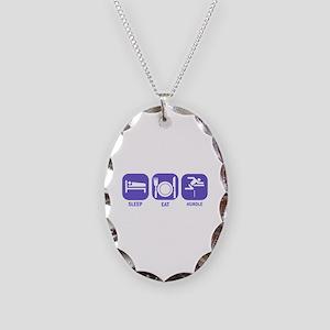 Sleep Eat Hurdle Necklace Oval Charm