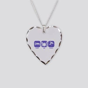 Sleep Eat Hurdle Necklace Heart Charm