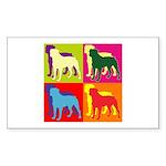 Rottweiler Silhouette Pop Art Sticker (Rectangle 1