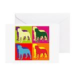 Rottweiler Silhouette Pop Art Greeting Cards (Pk o