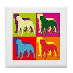 Rottweiler Silhouette Pop Art Tile Coaster