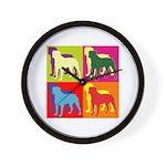 Rottweiler Silhouette Pop Art Wall Clock