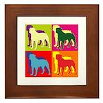Rottweiler Silhouette Pop Art Framed Tile