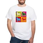 Rottweiler Silhouette Pop Art White T-Shirt