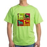 Rottweiler Silhouette Pop Art Green T-Shirt