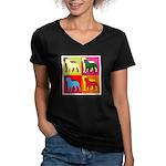 Rottweiler Silhouette Pop Art Women's V-Neck Dark
