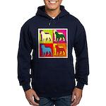 Rottweiler Silhouette Pop Art Hoodie (dark)