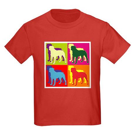 Rottweiler Silhouette Pop Art Kids Dark T-Shirt