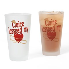 Claire Lassoed My Heart Drinking Glass