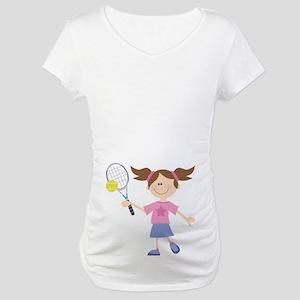 Girls Tennis Player Maternity T-Shirt
