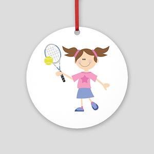 Girls Tennis Player Ornament (Round)