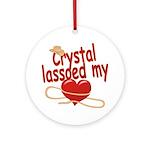 Crystal Lassoed My Heart Ornament (Round)