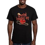 Crystal Lassoed My Heart Men's Fitted T-Shirt (dar