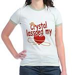 Crystal Lassoed My Heart Jr. Ringer T-Shirt