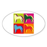 Saint Bernard Silhouette Pop Art Sticker (Oval)