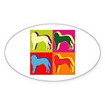 Saint Bernard Silhouette Pop Art Sticker (Oval 10