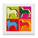 Saint Bernard Silhouette Pop Art Tile Coaster
