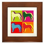 Saint Bernard Silhouette Pop Art Framed Tile