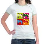 Saint Bernard Silhouette Pop Art Jr. Ringer T-Shir