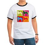 Saint Bernard Silhouette Pop Art Ringer T