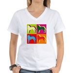 Saint Bernard Silhouette Pop Art Women's V-Neck T-