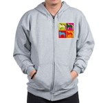Saint Bernard Silhouette Pop Art Zip Hoodie