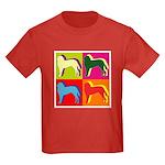 Saint Bernard Silhouette Pop Art Kids Dark T-Shirt